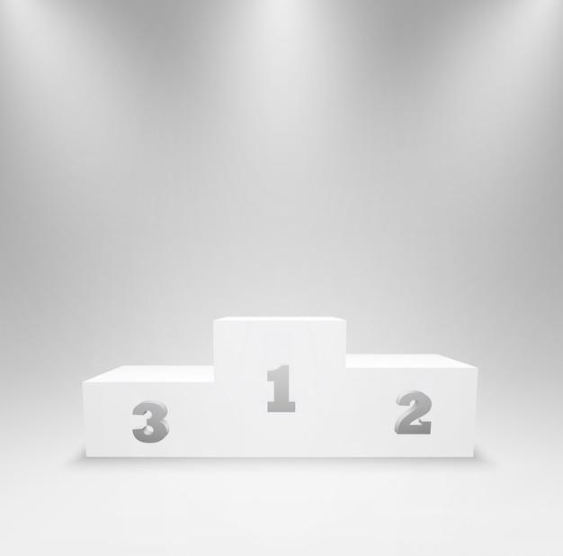 Cokół dla zwycięzców z pierwszym, drugim i trzecim miejscem. podium na ceremonię wręczenia nagród, stoisko dla zwycięzców konkursu i mistrzów. platforma 3d na białym tle w oświetleniu studyjnym. ilustracja.