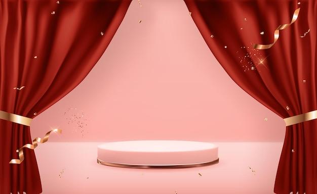 Cokół w kolorze różowego złota i otwarte zasłony. modny pusty wyświetlacz podium