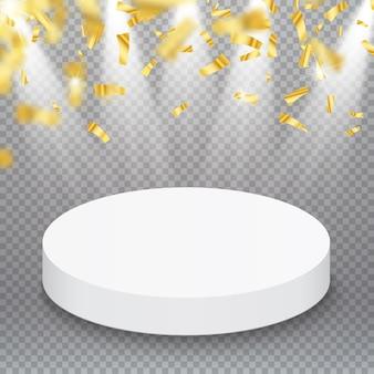 Cokół ze złotymi konfetti na białym tle. ilustracji wektorowych. koncepcja zwycięzcy