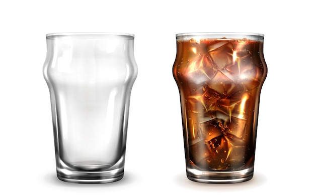 Cola mrożona kawa lub herbata w szklance