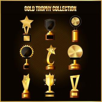 Colección de fantasticos trofeos dorados