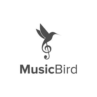 Colibri ptak i nuta muzyka prosta, elegancka, kreatywna, geometryczna, nowoczesna konstrukcja logo