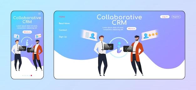Collaborative crm adaptacyjny szablon strony docelowej w płaskim kolorze. uśmiechający się biznesmeni mobilni, układ strony głównej komputera. dane klienta współużytkują jedną stronę internetową interfejsu użytkownika. strona współpracy międzyplatformowa