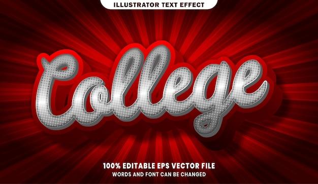 College efekt edytowalnego stylu tekstu 3d