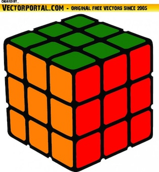 Coloful cube vector clip art rozwiązany