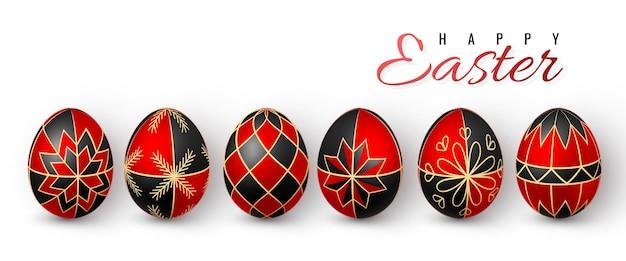 Color easter egg czerwona i czarna farba do jajek za pomocą wosku pszczelego.
