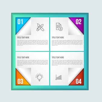 Colorfull infographic szablon z 3d papierową etykietką