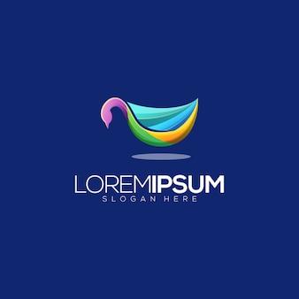 Colorfull łabędź liść logo premium wektor