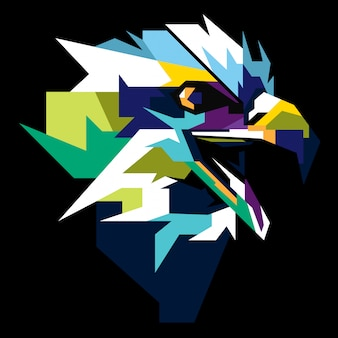 Colourful eagle head