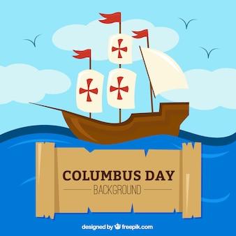Columbus dzień tła caravel