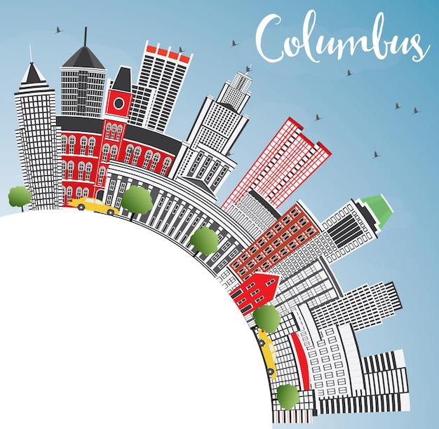 Columbus skyline z szarymi budynkami, błękitnym niebem i przestrzenią kopii. ilustracja wektorowa. podróże służbowe i koncepcja turystyki z nowoczesną architekturą. obraz banera prezentacji i witryny sieci web.