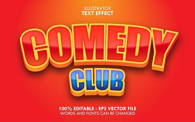 Comedy club, edytowalny efekt tekstowy w stylu kreskówki 3d