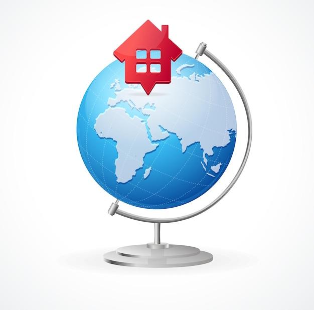 Concept globe. lokalizowanie dla domu i podróży.