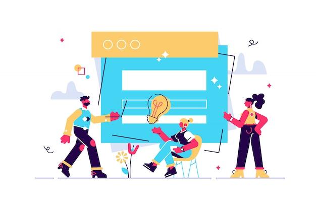 Concept ux user experience development design usability usprawnij oprogramowanie firmy. projekt eksperymentu interfejsu użytkownika ulepsz projekt ilustracji przewodnik po projektach tworzenie aplikacji internetowej komputer, responsywny.