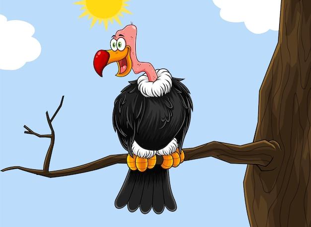 Condor lub vulture cartoon character siedzi na gałęzi.