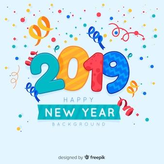 Confetti nowego roku 2019 tło