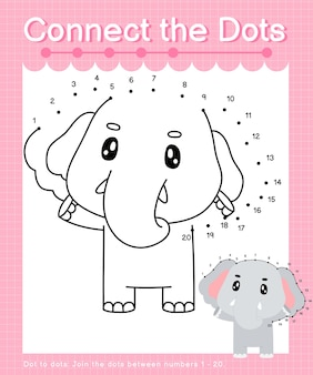 """Connect the dots elephant - gry typu """"kropka-kropka"""" dla dzieci liczące od 1 do 20"""