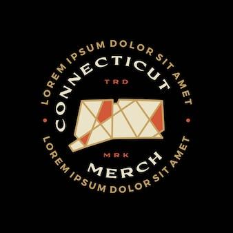 Connecticut mapa geometryczna odznaka t shirt tee merch logo wektor ikona ilustracja