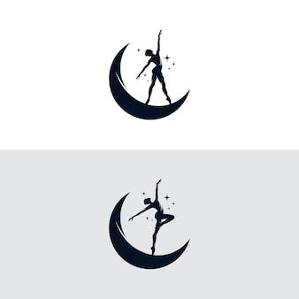 Contemporary dancing girl zarys i księżyc