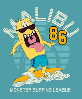 Cool monster surfing vector design
