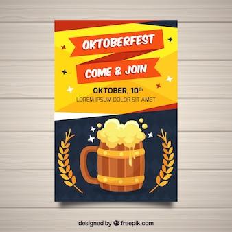 Cool plakat oktoberfest z piwem i piwem