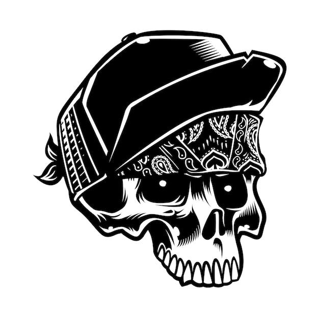 Cool styl czaszki na sobie kapelusz i paisley chustka