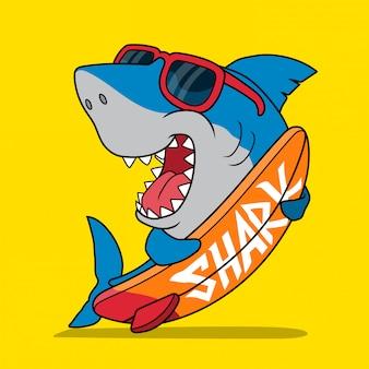 Cool surfer shark.
