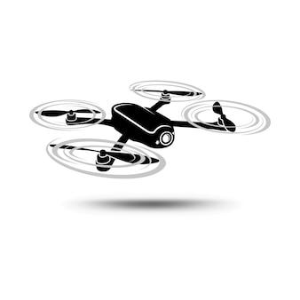 Copter lub quadcopter z kamerą odizolowywającą na białym tle.