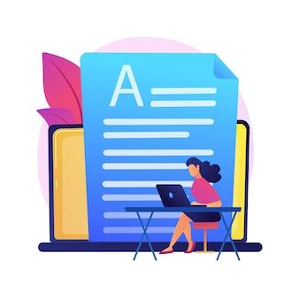 Copywriting. post w mediach społecznościowych, content marketing, reklama internetowa. postać z kreskówki pisania tekstu do reklamy. strategia promocyjna.