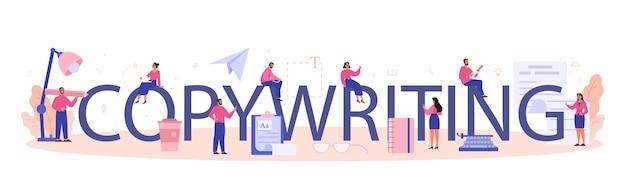 Copywriting typograficzny nagłówek. idea pisania tekstów, kreatywność i promocja.