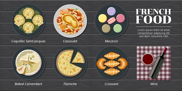 Coquille saint jacques, cassoulet, macaron, pieczony camembert, flamiche, rogalik francja zestaw menu żywności kolekcja