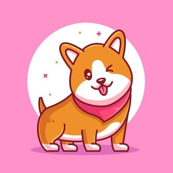 Corgi dog logo vector icon illustration premium animal pet illustration in flat style
