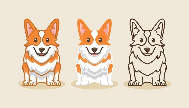 Corgi pies ikona kreskówka zestaw ilustracji