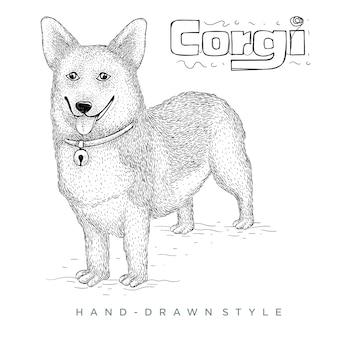Corgi pies ręcznie rysowane ilustracji zwierząt