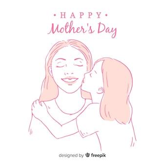 Córka całuje jej macierzystej matki dnia tło
