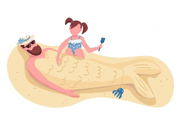 Córka grzebiąca tatę w postaci bez twarzy w postaci płaskiego koloru piasku
