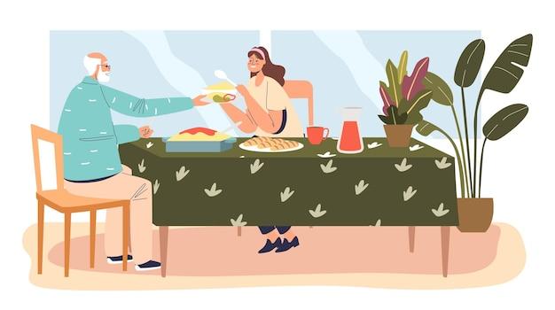 Córka i starszy ojciec razem obiad. młoda kobieta jedzenie z dziadkiem w domu. wnuczka odwiedza starszego tatę. ilustracja kreskówka płaski wektor