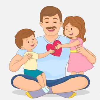 Córka i syn świętuje dzień ojca