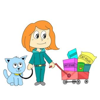 Córka kupuje jedzenie dla swojego kota. naklejka ilustracja kreskówka
