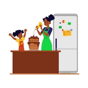 Córka pomaga matce w kuchni z gotowaniem i pieczeniem, ilustracja na białym tle. kobieta i dziewczyna postaci z kreskówek wspólnie przygotowują jedzenie.