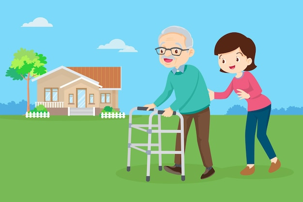 Córka pomaga ojcu spacerować z walkerem na podwórku