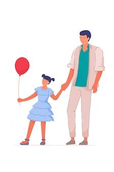 Córka szczęśliwy ojciec spaceru na białym tle