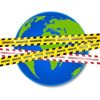 Coronavirus 2019-ncov, bezszwowe żółte i czerwone taśmy bezpieczeństwa na tle planety ziemia, ilustracja