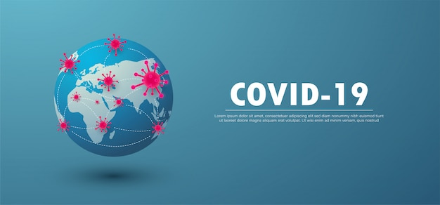 Coronavirus 2019-ncov concept infected world by covid-19 banner background