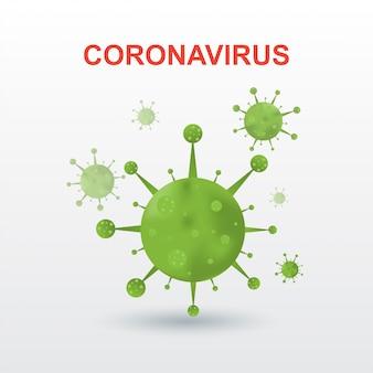 Coronavirus 2019-ncov. Korona Słoneczna Wirus Na Białym Tle Odizolowywającym Premium Wektorów