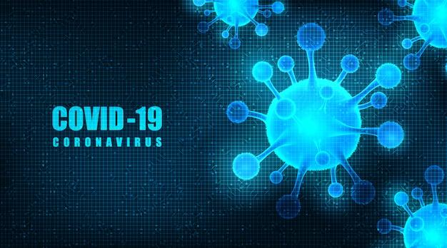 Coronavirus 2019-ncov na futurystycznym tle, medycznej koncepcji opieki zdrowotnej i mikrobiologii, projekt dotyczący wybuchu covid-19.
