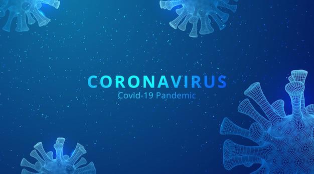 Coronavirus 2019-ncov nowatorska koncepcja koronawirusa low poly abstrakcyjna koncepcja.