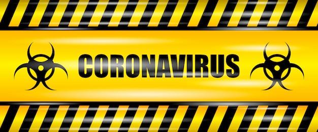 Coronavirus (2019-ncov) realistyczna bezszwowa żółta wstążka, ostrożność koronawirus, realistyczna ilustracja