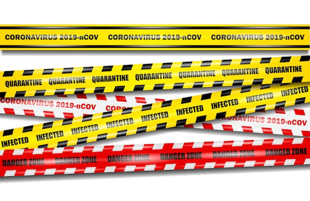 Coronavirus 2019-ncov realistyczne bezszwowe żółte i czerwone taśmy na na białym tle, zestaw taśm koronawirusowych, realistyczna ilustracja