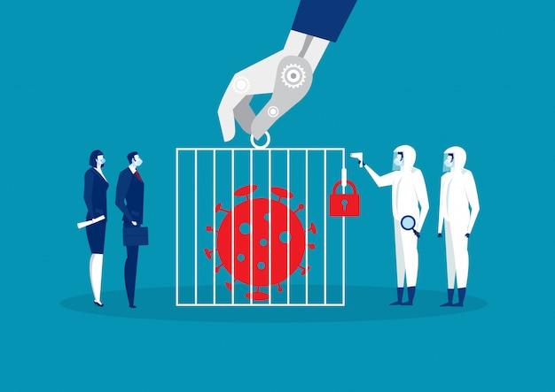 Coronavirus 2019-ncov w więzieniu z zespołem i lekarzem w osłonie maski ochronnej na oprogramowanie antywirusowe